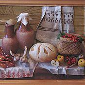 """Картины и панно ручной работы. Ярмарка Мастеров - ручная работа натюрморт из керамического теста""""Деревня и горячий хлеб"""". Handmade."""