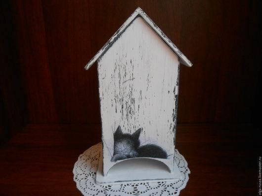 """Кухня ручной работы. Ярмарка Мастеров - ручная работа. Купить Чайный домик"""" Черно -белые коты"""".. Handmade. Чёрно-белый"""
