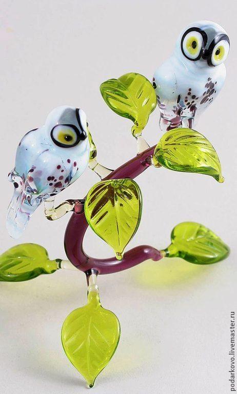 Статуэтки ручной работы. Ярмарка Мастеров - ручная работа. Купить Полярные совы. Handmade. Болотный, филины, стеклянная фигурка