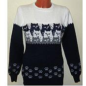 Одежда handmade. Livemaster - original item Sweater knit Soft paws ornament Cat. Handmade.