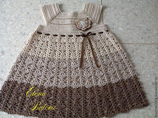 """Одежда для девочек, ручной работы. Ярмарка Мастеров - ручная работа. Купить Платье """"Шоколад"""". Handmade. В полоску, платье для девочки"""