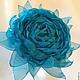 цветы из ткани бирюзовая брошь бирюзовое кольцо подарок девушке комплект украшений из бирюзового шифона роза бирюзовая украшения из ткани
