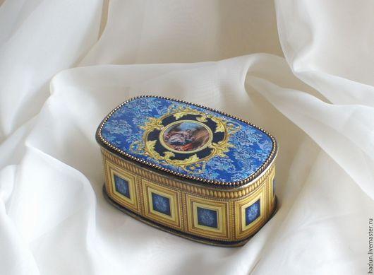 Шкатулки ручной работы. Ярмарка Мастеров - ручная работа. Купить Винтажная шкатулка в стиле барокко. Handmade. Винтаж, синий, фурнитура