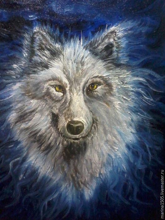 """Человечки ручной работы. Ярмарка Мастеров - ручная работа. Купить картина """"Волк"""". Handmade. Синий, масло, холст на картоне, мало"""