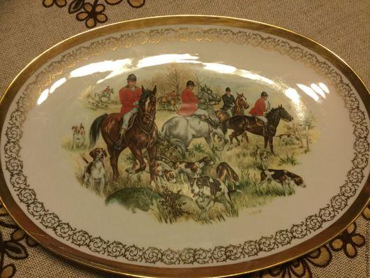 Винтажная посуда. Ярмарка Мастеров - ручная работа. Купить Блюдо Английская охота оригинал. Handmade. Комбинированный, фарфор