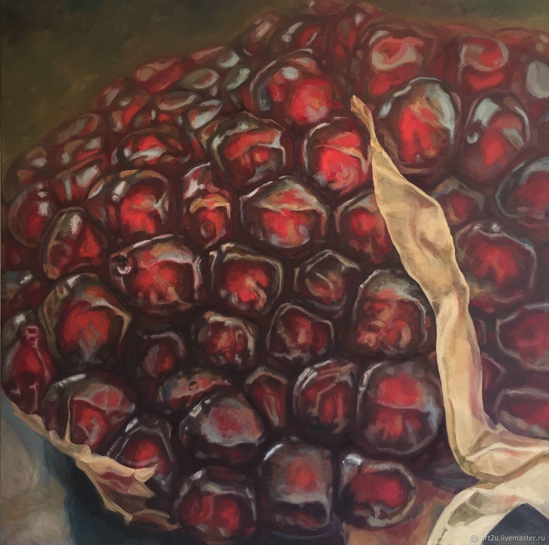 Натюрморт ручной работы. Ярмарка Мастеров - ручная работа. Купить Гранат. Handmade. Красный, картина маслом, большая картина