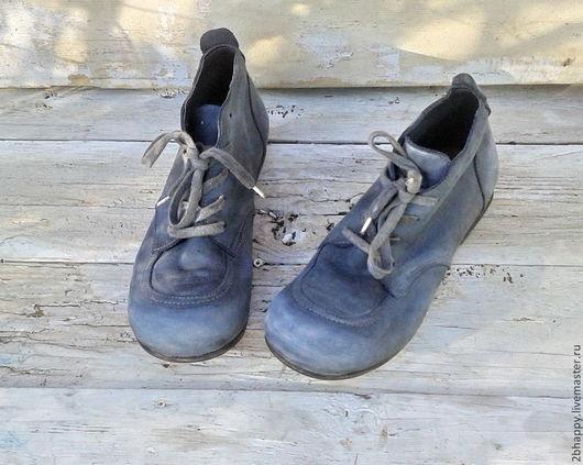 Обувь ручной работы. Ярмарка Мастеров - ручная работа. Купить Кожаные ботинки OMG-2. Handmade. Серый, сине-серый