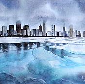 Картины и панно handmade. Livemaster - original item Painting watercolor City. Winter. Handmade.