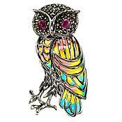 "Украшения handmade. Livemaster - original item Brooch-pendant ""owl"" from 925 sterling silver with natural ruby. Handmade."