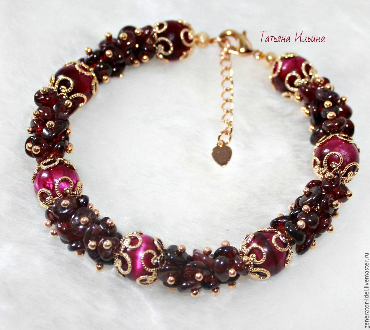 Bracelets handmade. Livemaster - handmade. Buy Bracelet grenade 'Louise-4'.Bracelet, designer jewelry, garnet bracelet