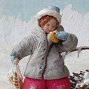Подарки к праздникам ручной работы. Ярмарка Мастеров - ручная работа Ватная елочная игрушка ЗА ХЛЕБУШКОМ. Handmade.