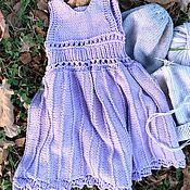 Платья ручной работы. Ярмарка Мастеров - ручная работа Сиреневое платье-сарафан из хлопка для девочки. Handmade.