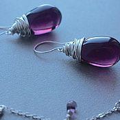 Украшения handmade. Livemaster - original item Drop earrings 925 sterling silver Plum Jude. Handmade.