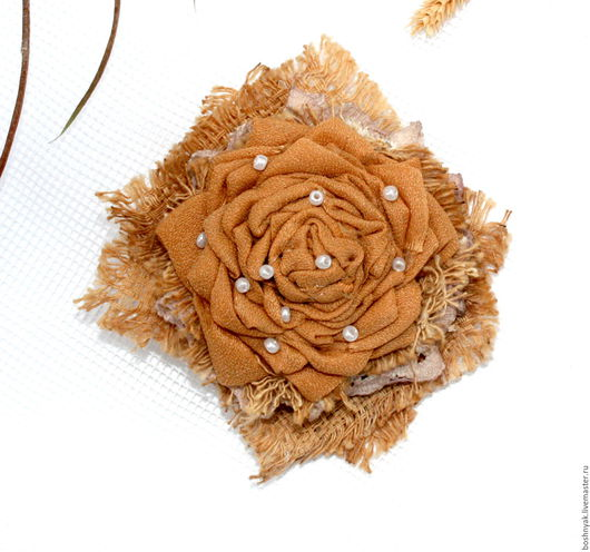 """Броши ручной работы. Ярмарка Мастеров - ручная работа. Купить Брошь  текстильная бохо """"Чайная роза"""". Handmade. Комбинированный"""