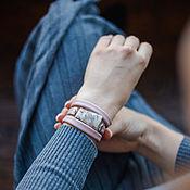 Украшения handmade. Livemaster - original item Women`s Leather bracelet for summer dusty pink color with jasper. Handmade.