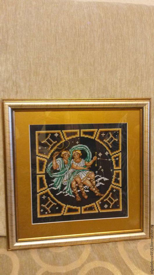 Знак зодиака Близнецы, ручная работа, вышивка крестом