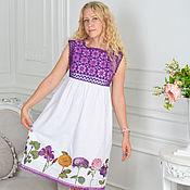 """Одежда ручной работы. Ярмарка Мастеров - ручная работа """"Лея"""" легкое летнее платьице с вязаным лифом. Handmade."""