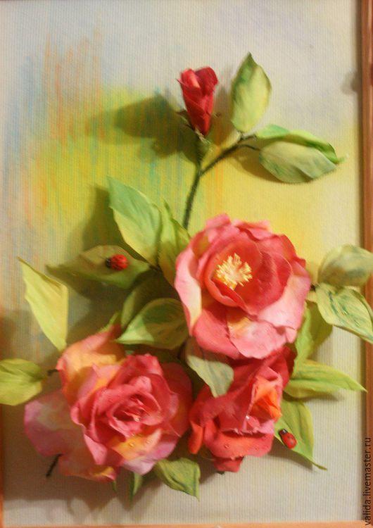 Картины цветов ручной работы. Ярмарка Мастеров - ручная работа. Купить Розы. Handmade. Комбинированный, розы ручной работы, лето