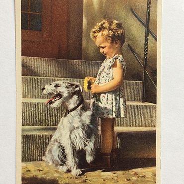 Винтаж ручной работы. Ярмарка Мастеров - ручная работа Германия открытка девочка и собака 50-е годы. Handmade.