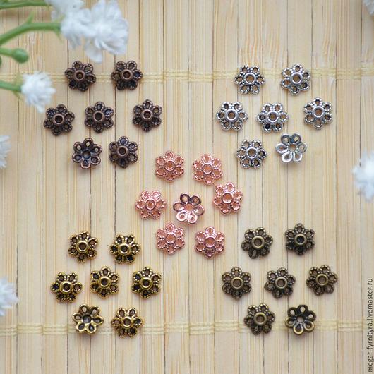 Для украшений ручной работы. Ярмарка Мастеров - ручная работа. Купить 10 шт.Шапочки 6 мм (5 цветов). Handmade.
