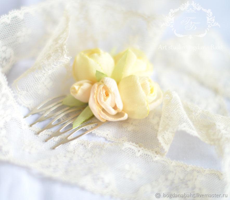 """Заколки ручной работы. Ярмарка Мастеров - ручная работа. Купить """"Любовь Ангела"""" - мини гребень. Handmade. Цветы, лимонный"""