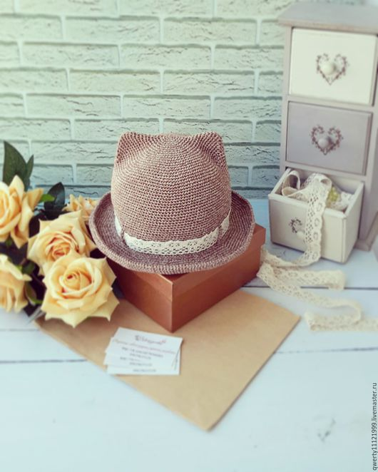 """Шляпы ручной работы. Ярмарка Мастеров - ручная работа. Купить Шляпа с ушками кошки """"Vintage"""" (хлопок). Handmade. Бежевый"""