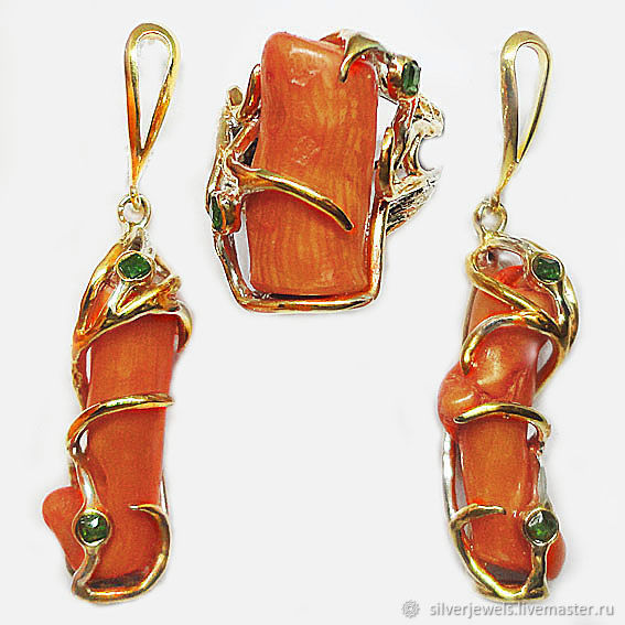 Set of 925 sterling silver with natural corals and tsavorite garnets, Jewelry Sets, Moscow,  Фото №1