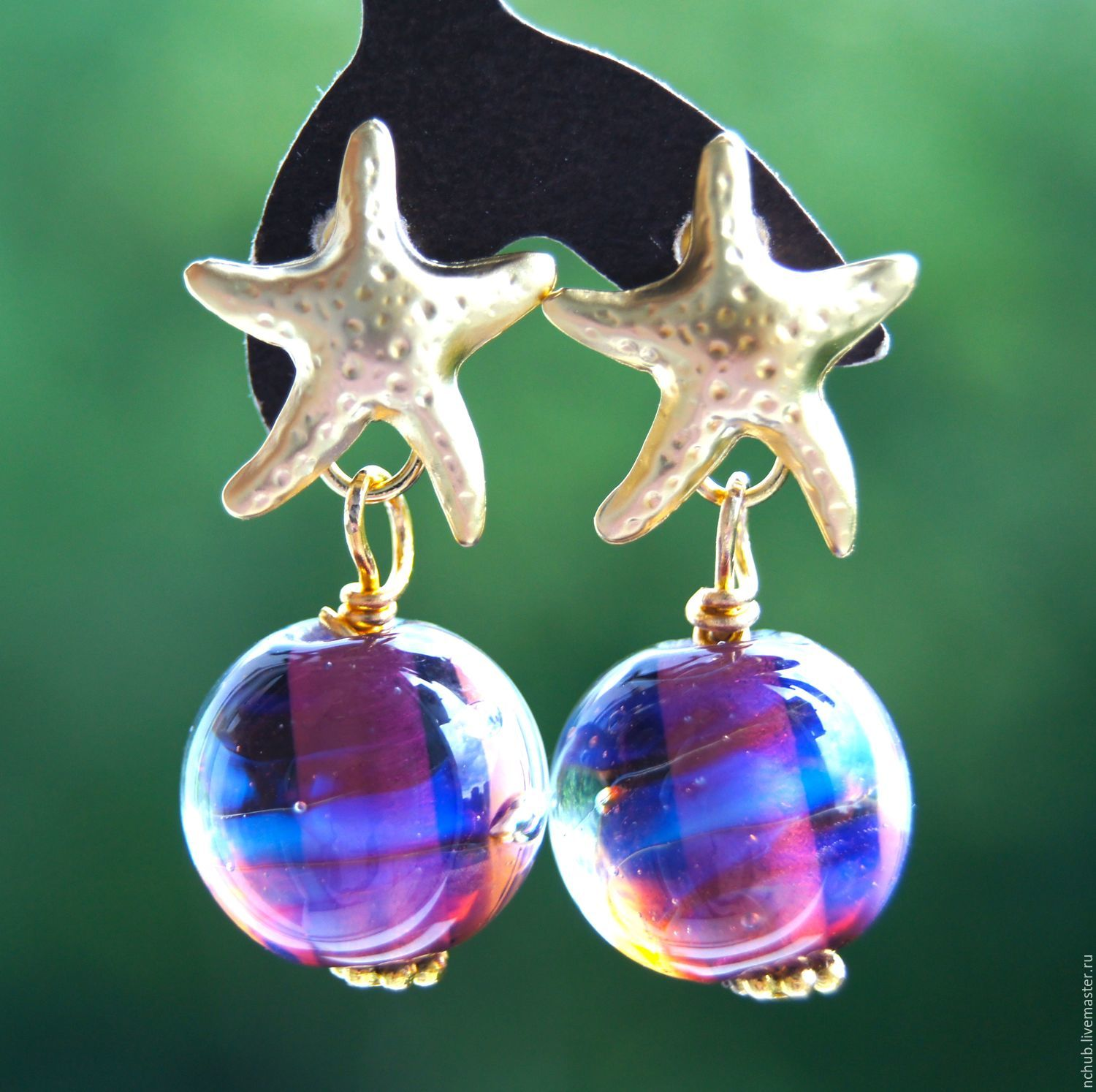Earrings, Two stars with the cosmic lampwork glass ball, Earrings, Moscow,  Фото №1