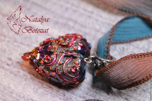 Кулон сердце подвеска сердечко авторского стекла сердце дракона муранское венецианское художественное стекло подарок женщине девочке девушке купить