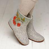 """Обувь ручной работы. Ярмарка Мастеров - ручная работа Валяные чуни """"Рябиновый бум"""". Handmade."""