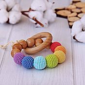 Куклы и игрушки handmade. Livemaster - original item Rodent / rattle / teether round rainbow (7 beads). Handmade.
