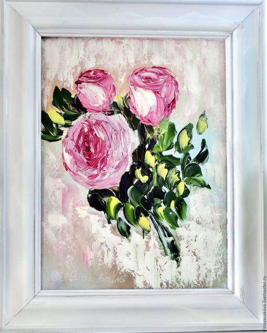 Картины цветов ручной работы. Ярмарка Мастеров - ручная работа. Купить Чайные розы. Handmade. Розовый, розы, масло, мастихин