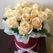 Цветы и флористика ручной работы. Ярмарка Мастеров - ручная работа Розы в шляпной коробке. Handmade.