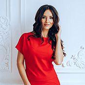 Одежда handmade. Livemaster - original item Костюм красный двойка трикотажный. Handmade.