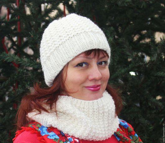Шапки ручной работы. Ярмарка Мастеров - ручная работа. Купить шапочка из  шерсти. Handmade. Белый, шапка женская, альпака 100%