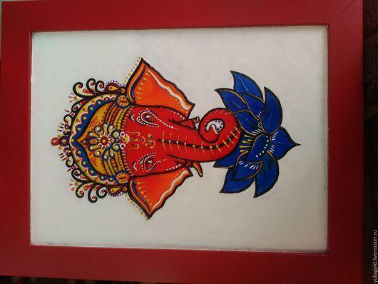 Животные ручной работы. Ярмарка Мастеров - ручная работа. Купить Индийский слон. Handmade. Панно на стену, лотос, роспись, контур