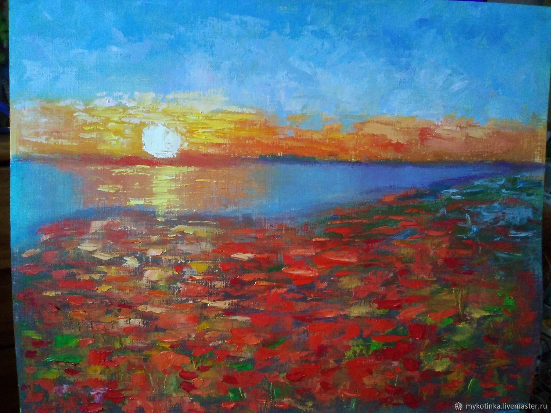 Картина Маки у озера, Картины, Магадан,  Фото №1