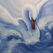Картины и панно ручной работы. Ярмарка Мастеров - ручная работа Картина масло Лебедь 40х50. Handmade.