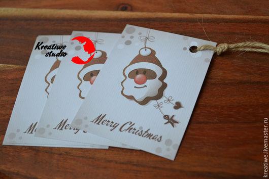 """Открытки к Новому году ручной работы. Ярмарка Мастеров - ручная работа. Купить """"Имбирная печенька Дед Мороз"""" открытка-бирка для подарка. Handmade."""