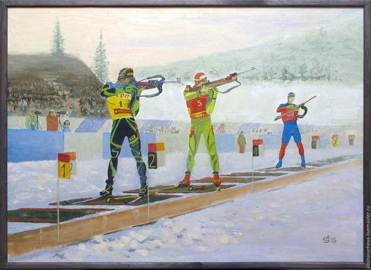 В год Олимпиады в Сочи в 2014 году была написана эта картина. Биатлон - один из самых зрелищных и красивых видов спорта. Эта картина  украсит спортивный клуб, офис или частный дом.