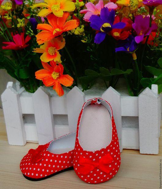 Куклы и игрушки ручной работы. Ярмарка Мастеров - ручная работа. Купить Обувь для кукол - туфли в горох 7см. Handmade.