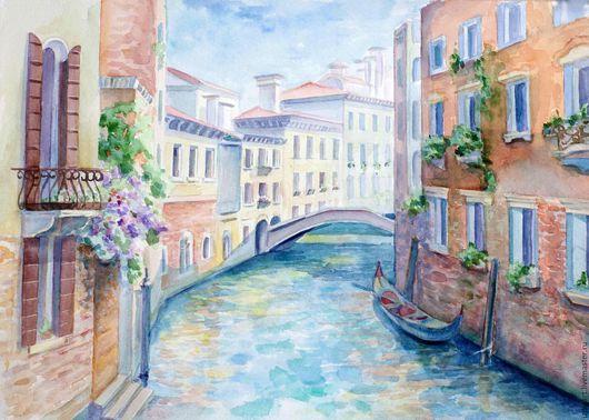 Город ручной работы. Ярмарка Мастеров - ручная работа. Купить Венеция. Handmade. Бежевый, пейзаж, венеция, акварельная бумага, акварель