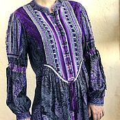Одежда handmade. Livemaster - original item Cotton tunic in the boho decor and lace-Silver-Purple. Handmade.