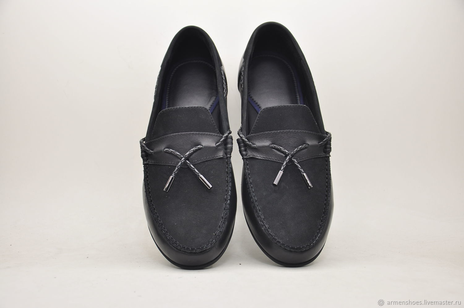 Handmade loafers, suede leather, black color, Moccasins, Tosno,  Фото №1
