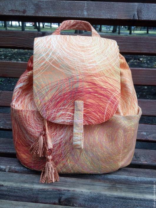 """Рюкзаки ручной работы. Ярмарка Мастеров - ручная работа. Купить Яркий рюкзак из ткани """"Краски осени"""". Handmade. Рыжий"""