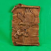 Картины и панно handmade. Livemaster - original item Carved panels of eagle and snake. Handmade.