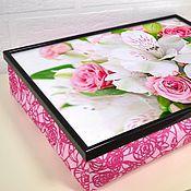 Для дома и интерьера ручной работы. Ярмарка Мастеров - ручная работа Цветочный столик-поднос на розовой или белой подушке. Handmade.