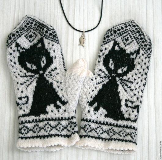 Варежки, митенки, перчатки ручной работы. Ярмарка Мастеров - ручная работа. Купить варежки Черный кот. Handmade. Чёрно-белый