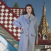 Одежда manualidades. Livemaster - hecho a mano Abrigo directa oversajz azul de lana, abrigo de lana. Handmade.