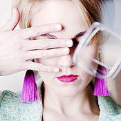 Украшения handmade. Livemaster - original item Silk earrings brush